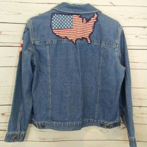 American flag denim jean jacket size L